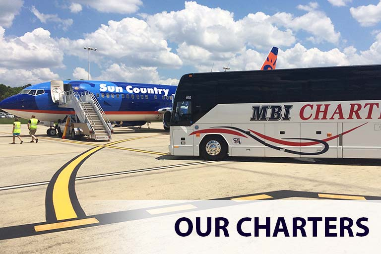 MBI Charters Bus Rental Parked at Southwest Florida Airport